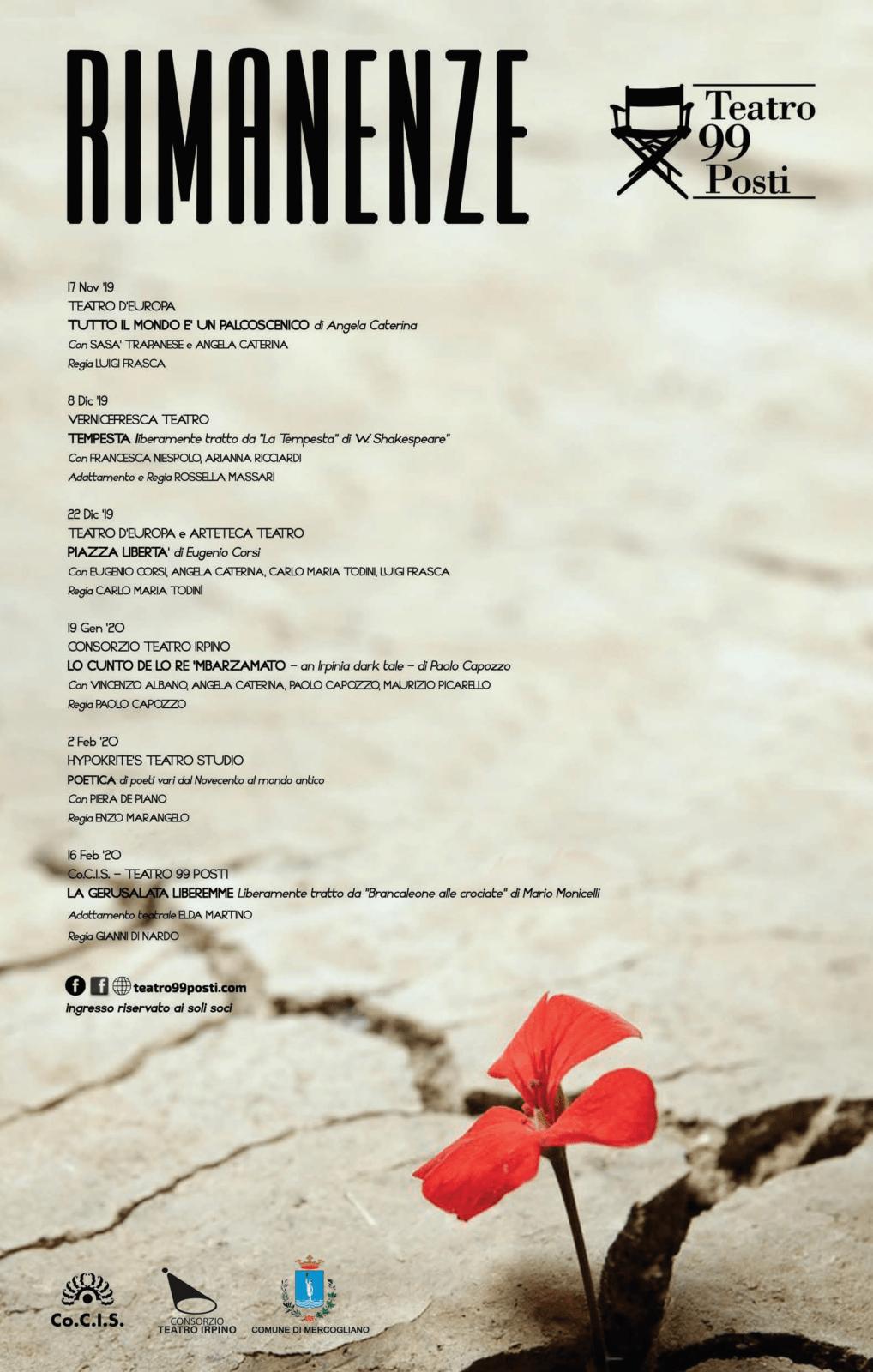 Rimanenze - Stagione Teatrale 2019-2020 - Teatro 99 Posti